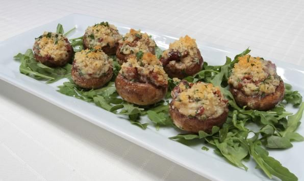 Fresh mushrooms stuffed with asiago cheese and crispy bacon - the perfect appetizer for any occasion!