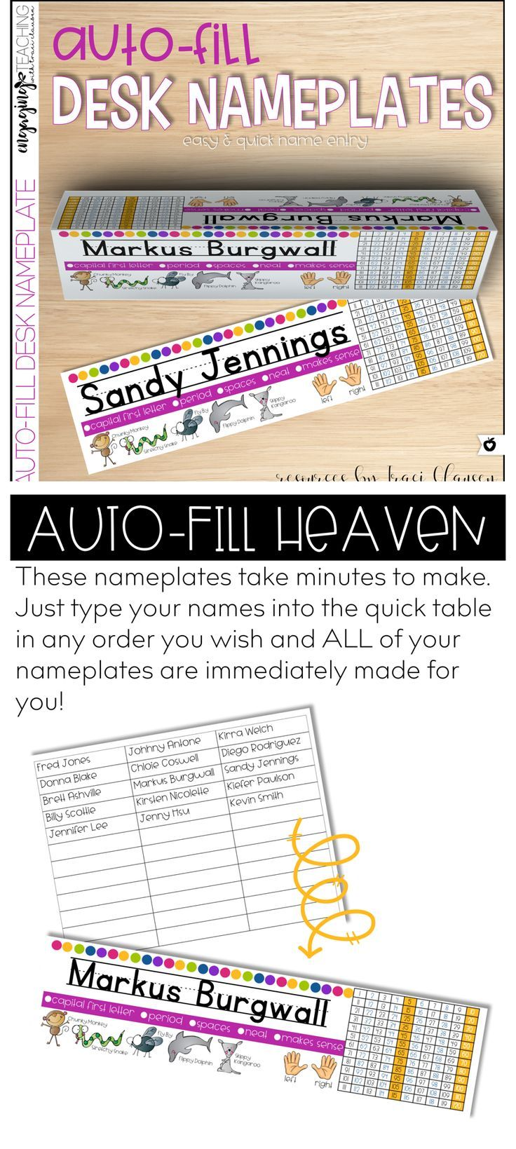 Auto Fill Desk Nameplates!? Yes PLEASE! Super time saver, adorable, and resourceful! Video preview available, too!