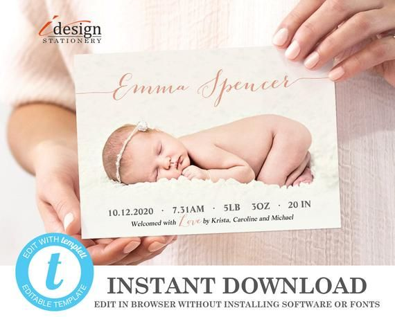 Birth Announcement Template Instant Download Editable Baby Boy Or Baby Gir Birth Announcement Template Baby Girl Announcement Cards Baby Announcement Cards