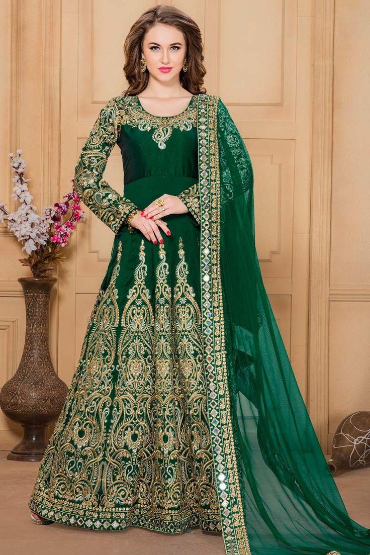 Green Silk And Taffeta Anarkali Churidar Suit With Embroidered Dupatta http://www.andaazfashion.com/salwar-kameez/anarkali-suits