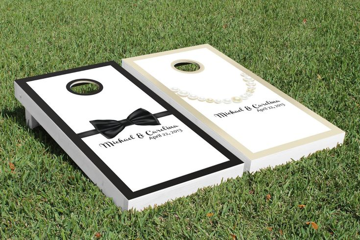 wedding corn hole | SIGNATURE TIE & PEARLS WEDDING CORNHOLE GAME SET
