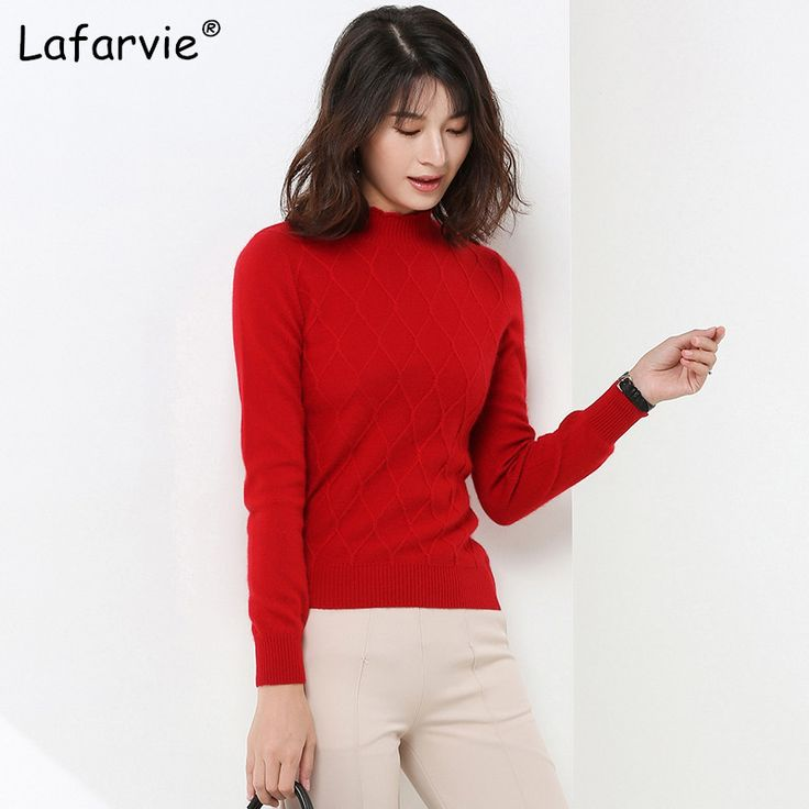 Lafarvie Women Cashmere Sweaters And Pullovers Autumn Turtleneck Long Sleeve Pullovers 16 Colors Women Casual Knitting. Click visit to buy