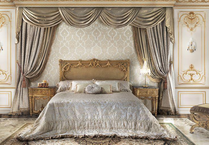 GABRIELI Luxury master bedroom with gold headboard