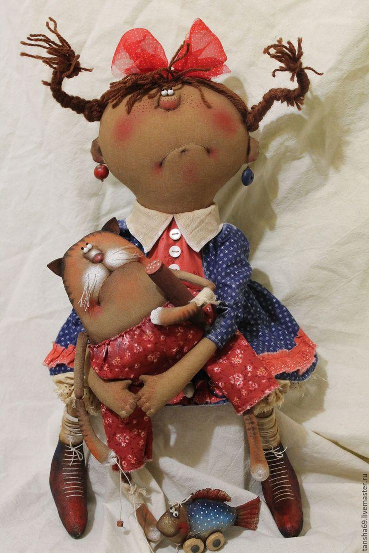 Купить ,,Васькины истории...,,, - комбинированный, текстильная кукла, ароматизированная кукла, интерьерная кукла, котик, ткань