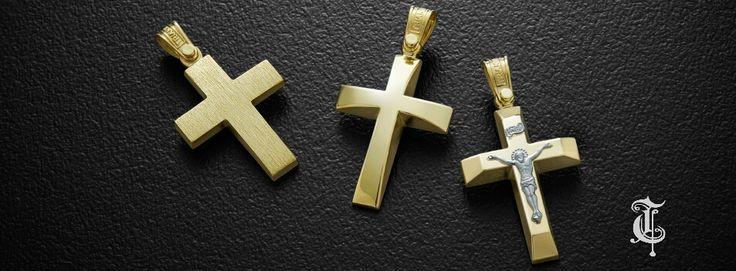 σταυροί βάπτισης, βαπτιστικοί σταυροί Τριάντος, gold crosses jewelry, κωδικοί προϊόντος από αριστερά : 1.1.1239, 1.2.1113 και 1.2.1119