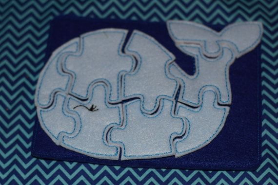 Whale Soft Felt Puzzle and Case Travel Toy by RosieKEmbroidery, $10.00