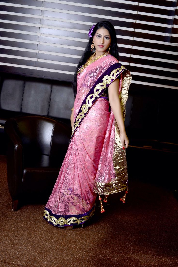 Let's party ....metallic lace purple Velvet saree...