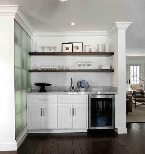 open shelving, white lowers, beverage fridge