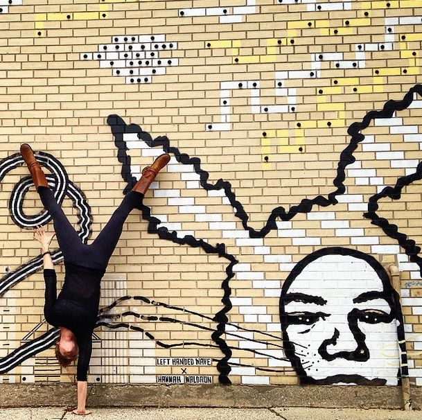 You've Never Seen Yoga Quite Like This #refinery29 http://www.refinery29.com/chicago-street-art-amazing-yoga-poses#slide-16 Bunny ears are always better in pairs. Artwork by @lefthandedwave and #hannahwaldron.