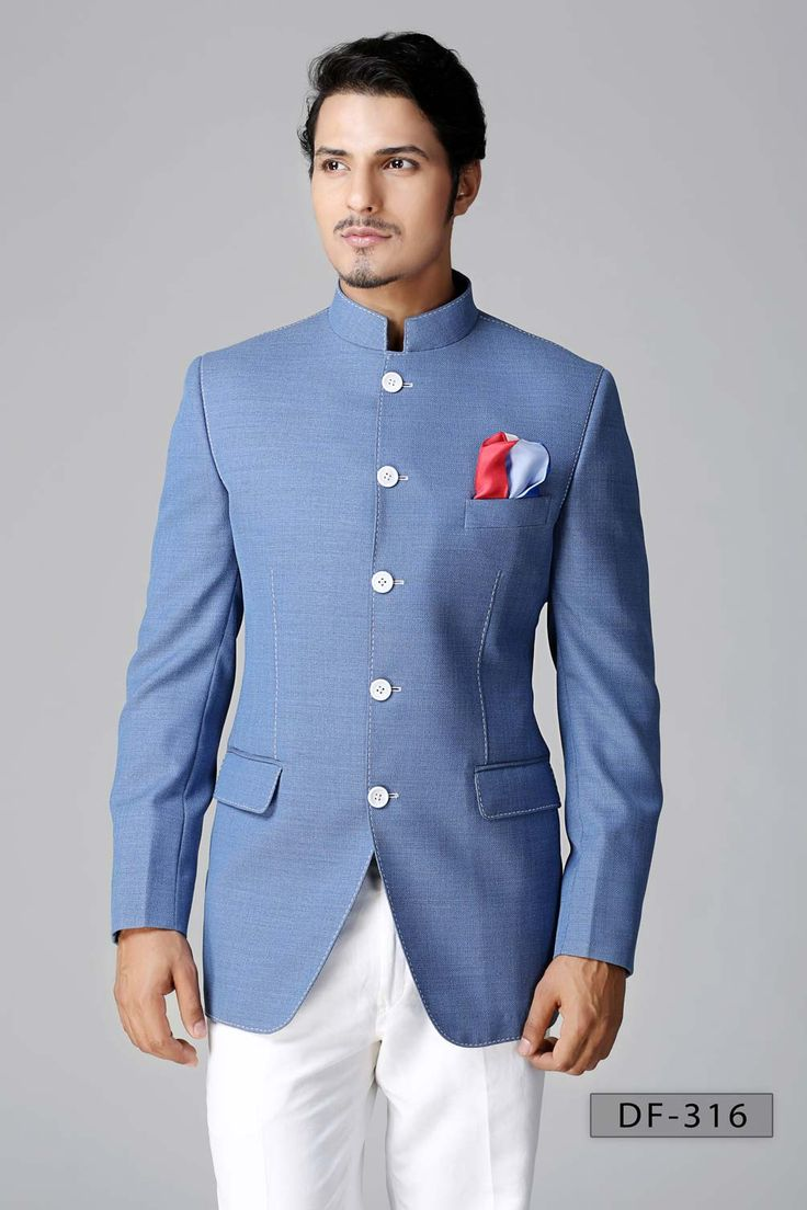 Jodhpuri Suits - Today the Nehru jacket  is the mainstay of the  more formal Bandhgala or Jodhupuri suit, a western style ensemble with a coat and trouser, sometimes accompanied by a vest, always with a Nehru collar and occasional with embroidery.