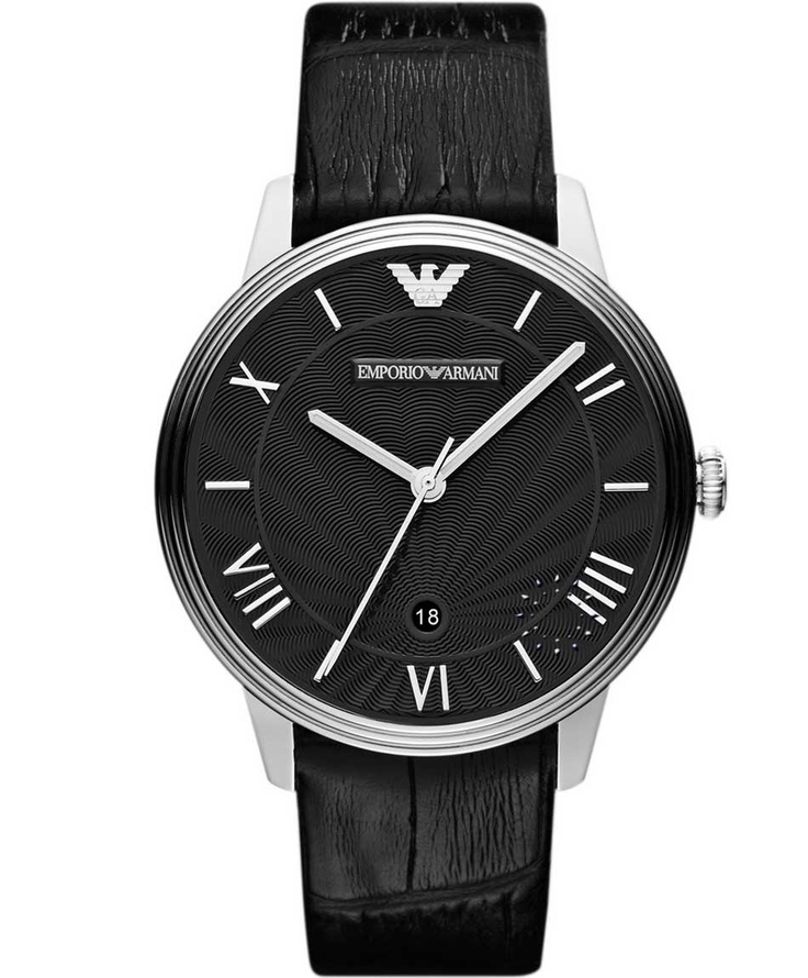 Emporio Armani Classic Black Leather Strap, 231€ http://www.oroloi.gr/product_info.php?products_id=30875