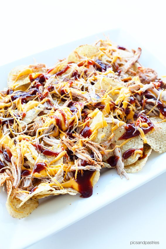 Amazing BBQ Nachos Recipe | Tortilla Chips, Pulled Pork, Liquid Cheese, Sweet Baby Ray's Sauce | Picsandpastries.com