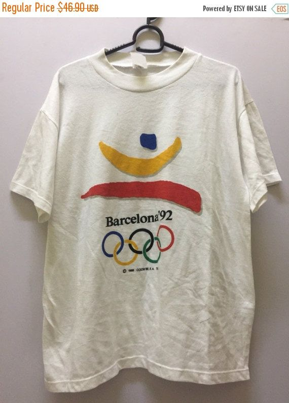 50% Sale Olympic Barcelona Mens Shirt Medium Olympic Games Barcelona T Shirt Men's Size M by MudeanDean