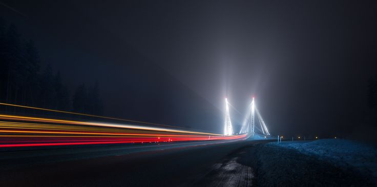 Saturn's bridge - Coming back from the mountains, this highway bridge pop out of the frost fog. And the trucks tail light in the picture made me think about Saturn `s rings :)