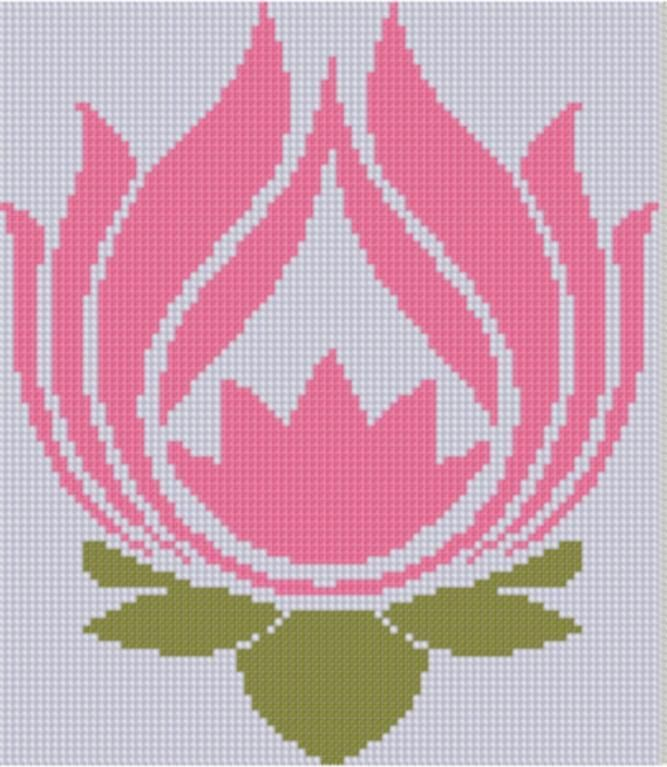 Lotus Flower Cross Stitch Pattern