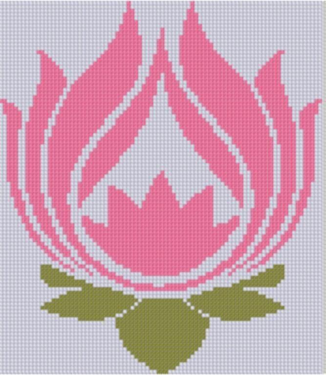 Lotus Flower Cross Stitch Pattern
