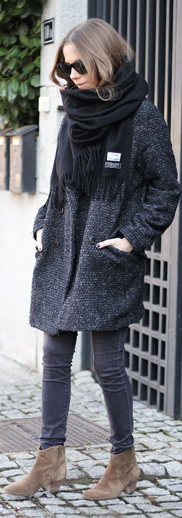 Dark Grey Boucle Knit Coat by Fashion And Style