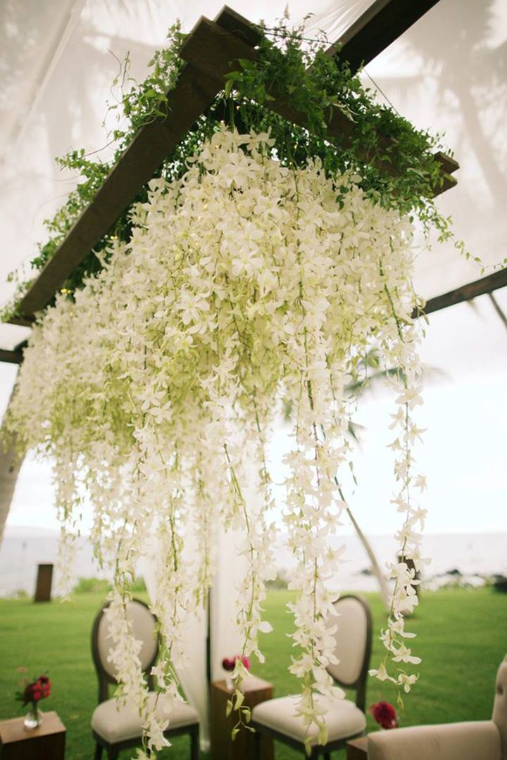 Suspended floral decor in white