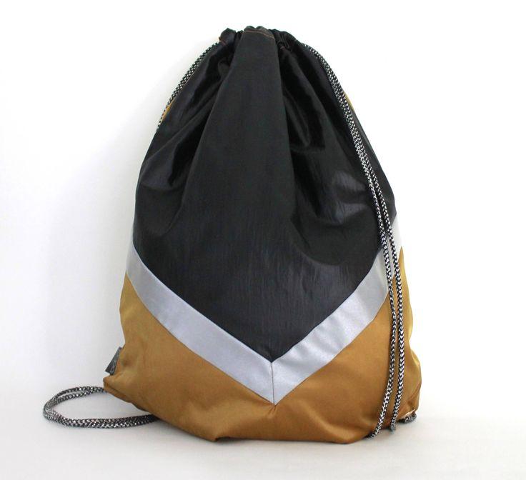 Black Gold waterproof drawstring bag backpack reflective tape Biking bag Unique by PopaStore on Etsy
