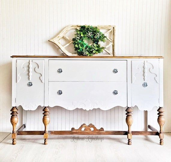 SOLD-Antique buffet, farmhouse buffet, Jacobean buffet, TV stand, white buffet, rustic, cottage