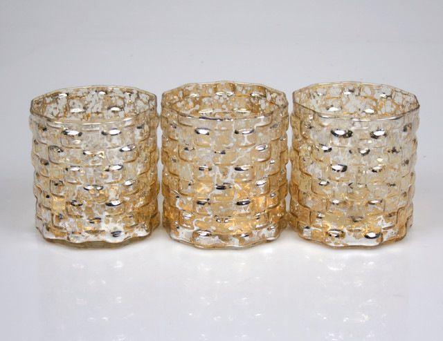 Mercury Votive Holders, Tile Pattern, Set of 3 contemporary-candleholders