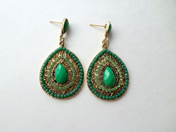 Green Teardrop Earrings Large Green Chandelier by EdnaCatherine