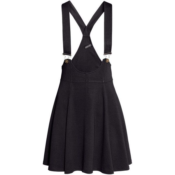 H&M Dungaree skirt ($22) ❤ liked on Polyvore featuring skirts, dresses, bottoms, overalls, black, h&m skirts, flared skirt, dungaree skirt, short skirts and short flared skirts