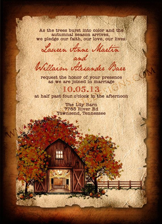 Vintage Rustic Autumn Wedding Invitation (Diamonds, Engagement Rings, and Fine Jewelry at www.brilliance.com)