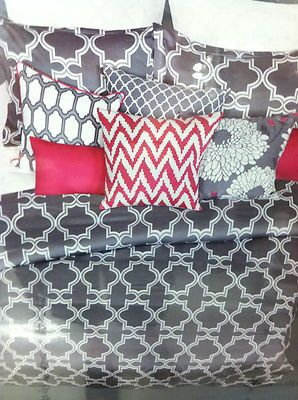 6 Pc New Colin Justin King Grey And Pink Comforter Set Geometric Pattern