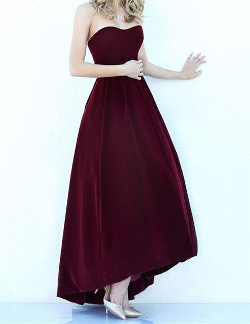 Modest High Low Burgundy Prom Gowns 2017 Wine Red Prom Dresses For Junior Teens by DestinyDress, $157.39 USD