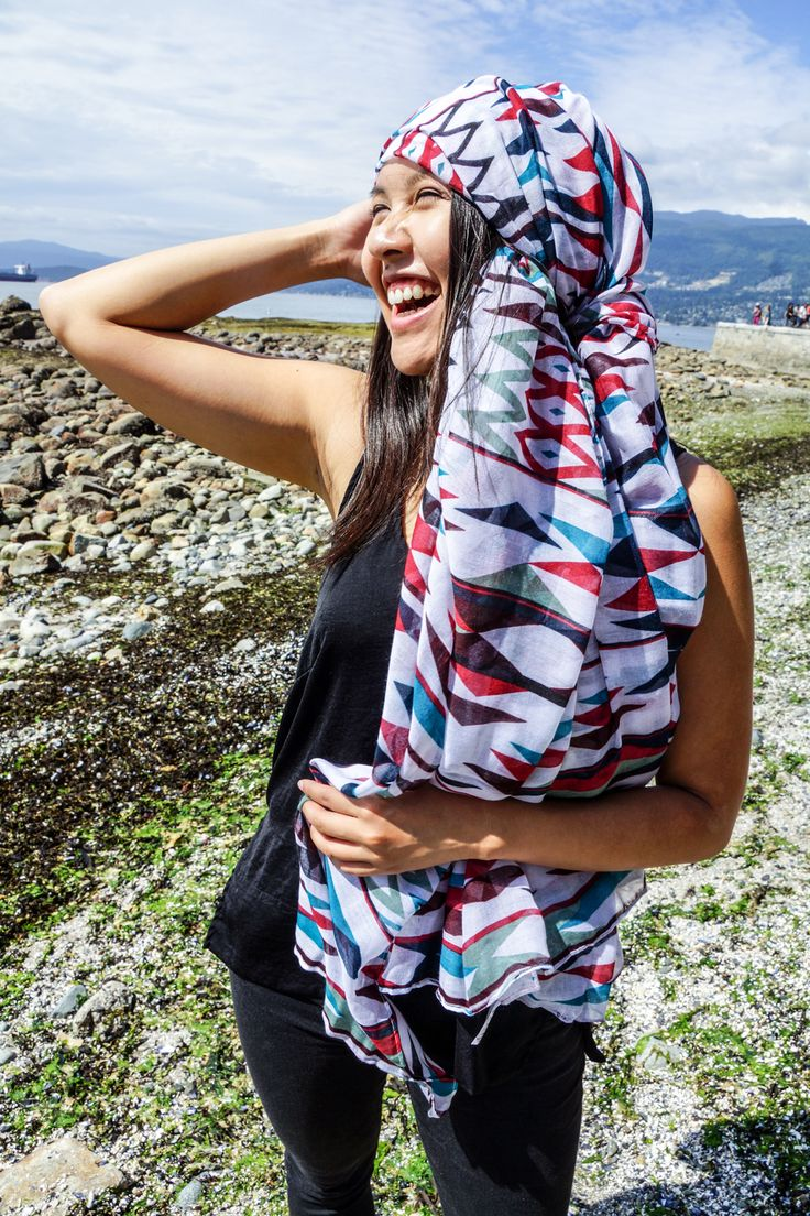 Our Voile Scarves are so fashionable for school! We offer several unique designs by Indigenous artists.