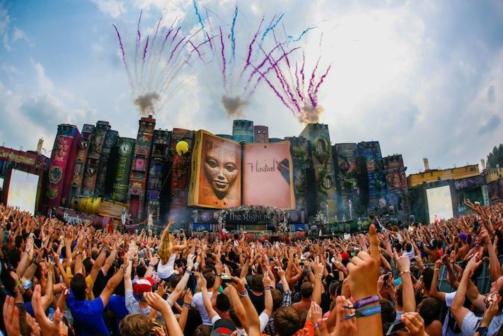 Tomorrowland Festival in Belgium - the stage was filled with a library of gigantic fairy tale books