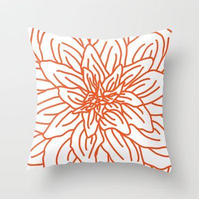 Modern Abstract Orange Flower Throw Pillow by Aldari Art Studio - $20.00, #pillow, #decor, #orange, #flower, #bold