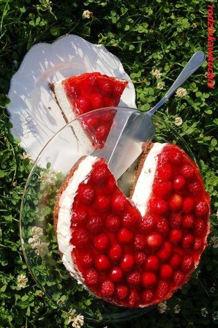 sernik na zimno z malinami i czereśniami_sernik_ciasto z owocami_ciasto z…