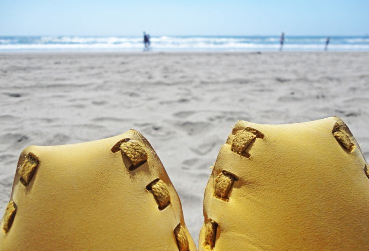 Pikkpack Shoes by YOU www.pikkpack.com Pikkpack shoes are on holiday! #pikkpackshoes #diyleathershoes #diy #shoes #leathershoes #oceanbeach #sanfrancisco #fashion #yellow