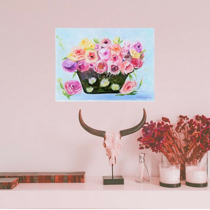 """Flowers for Mom. Mothers day gift. Gift for mom. Wall Art. Home Decor. Gift for her. Wall Decor. Original Oil Painting on Canvas. 12"""" x 16"""". 30,8 x 40,6 cm. 2018. Unframed. Painted Edges. Ready to Hang. #hygge #lifestyle #pink #roses #art #artistsofinstagram #artist #mother #giftideas #etsyshop #etsyfinds #etsystar #oilpainting #originalpainting #floral #bouquet"""
