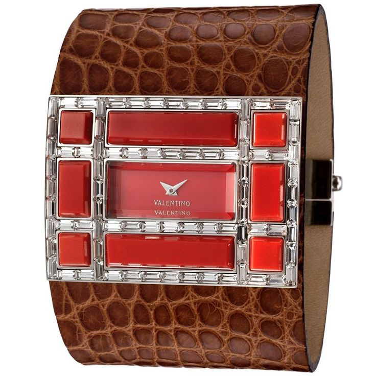 BNIB Valentino watch Coral and Swarovski alligator leather