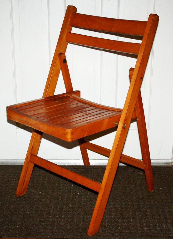 Retro Vintage Mid Century Modern Wooden Slat Folding Side Chair Portable  Seating