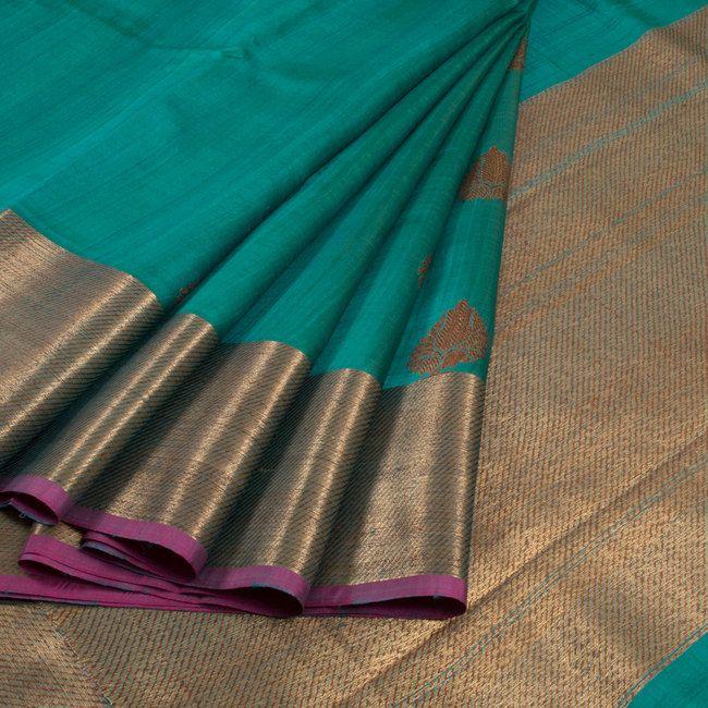 Handwoven Banarasi Kadhwa Tussar Silk Saree 10013340 - AVISHYA.COM 9