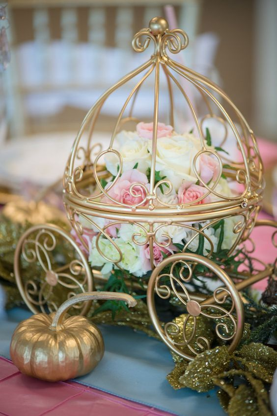 Floral Arrangement Inside A Mini Carriage From A Princess Cinderella Themed  Birthday Party Via Karau0027s Party