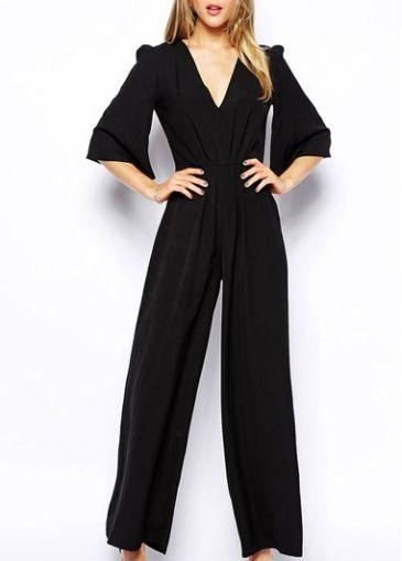 Loose V Neck Black Ankle Length Jumpsuits for Lady  on sale only US$22.87 now, buy cheap Loose V Neck Black Ankle Length Jumpsuits for Lady  at modlily.com