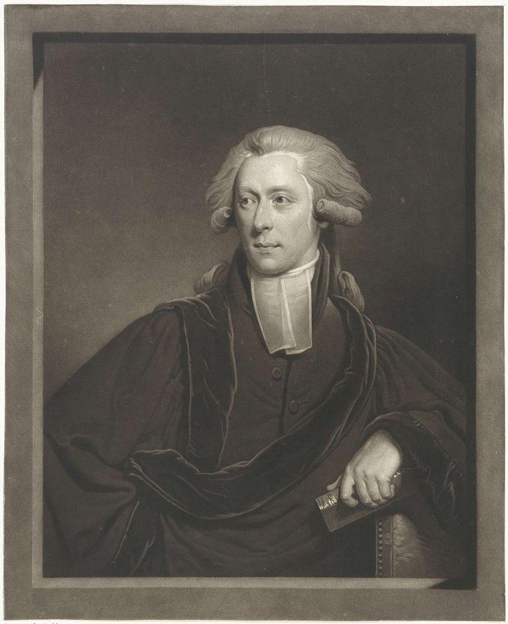 Charles Howard Hodges | Portret van Sebald Fulco Johannes Rau, Charles Howard Hodges, 1801 | Sebald Fulco Johannes Rau, hoogleraar theologie en oosterse talen te Leiden, met in de hand een boek.