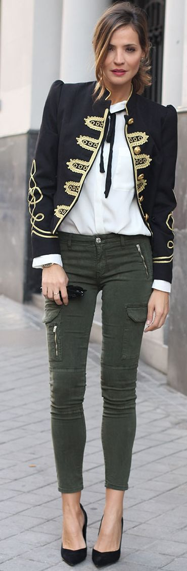 Military Jacket Fall Street Style Inspo by LadyAddict