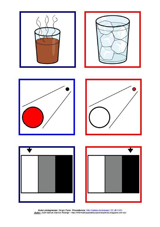 Tegengestelde begrippen 4: a) warm - koud b) dichtbij - ver c) wit - zwart