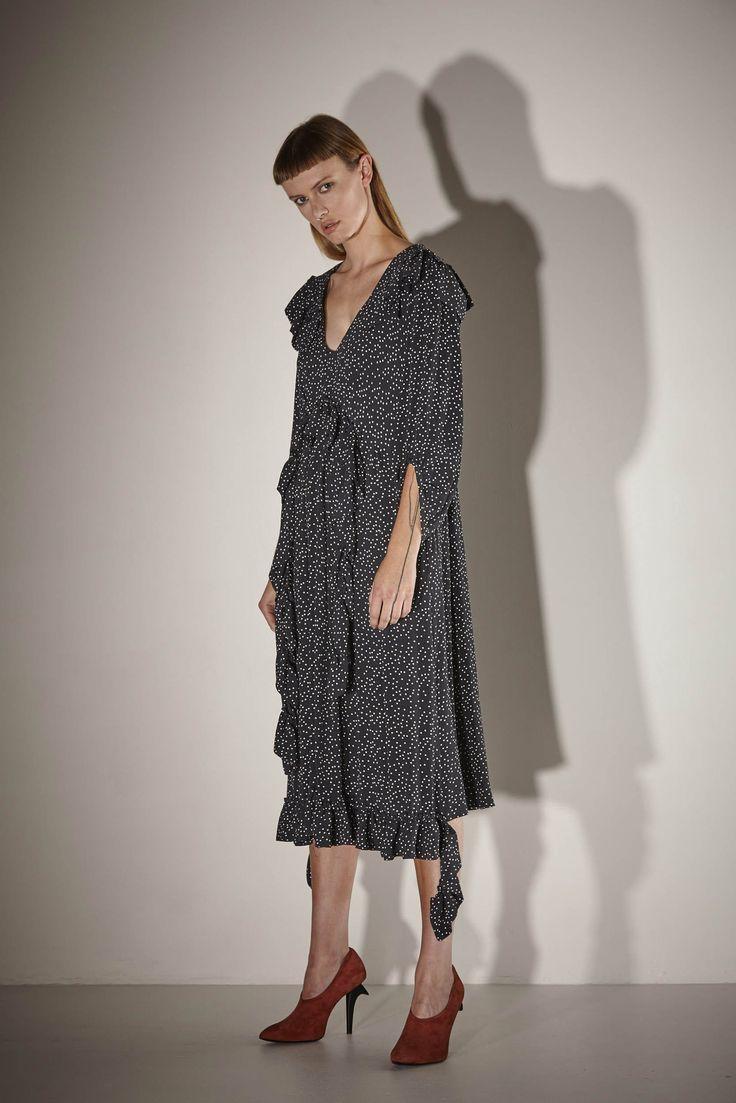 Ricochet NZ Fashion Designer Clothing SS17 Black and Ivory Dot Viscose Rayon Ruffle Neck V Neck Naoki Dress with Sleeves Made in NZ