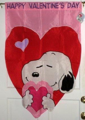 Snoopy Happy Valentineu0027s Day Decorative Garden Flag 28 X 40 Peanuts Gangu2026