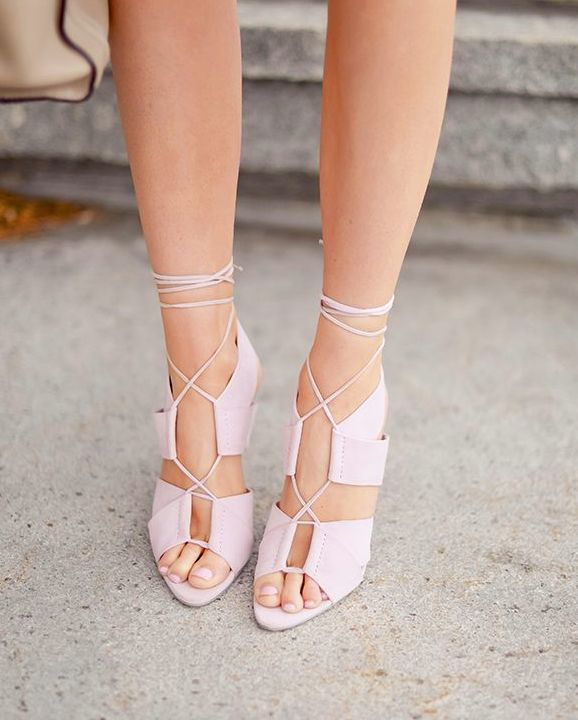 Pastel pink A.Wang lace up heels. ||  Stiloguard - Best High Heel Protectors, Prevents Heels from Sinking into Grass