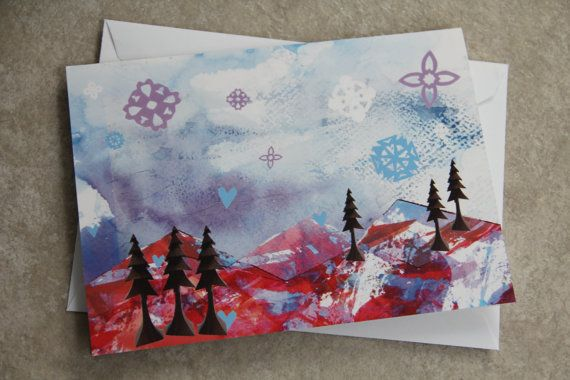 Christmas Card  Mixed Media Winter Mountains by LoveRockResidue, $4.00