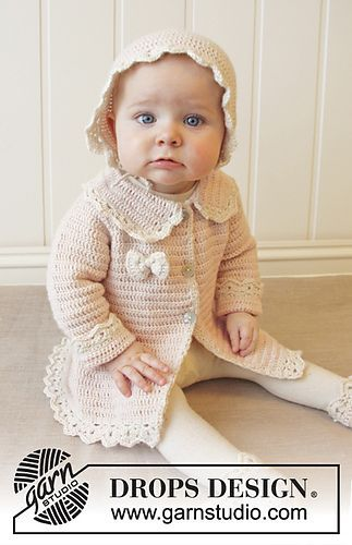 B25-12 Little Lady Rose by DROPS design - free baby sweater crochet pattern