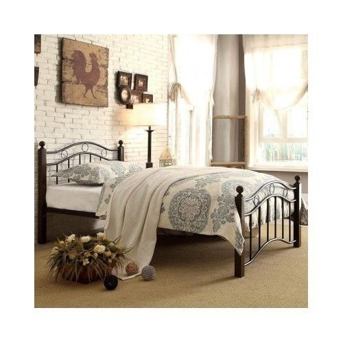 Twin Platform Bed Frame Black Headboard Footboard Metal Cheap Bedroom Furniture #Adrian #Traditional